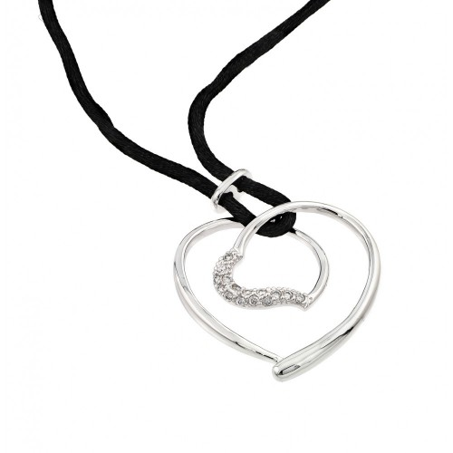 -Closeout- Wholesale Sterling Silver 925 Rhodium Plated Open Heart CZ Black Rope Necklace - BGP00595