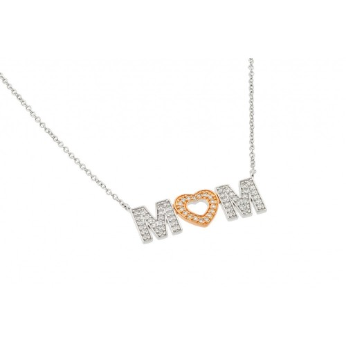 Wholesale Sterling Silver 925 Rhodium and Gold Plated Clear CZ MOM with Heart Pendant Necklace - BGP00831