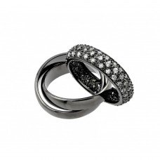 Wholesale Sterling Silver 925 Black Rhodium Plated Clear Pave Set CZ Eternity Movable Ring - BGR00775