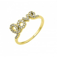 Sterling Silver Gold Plated Clear CZ Love Ring - BGR00781GP