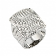 Wholesale Sterling Silver 925 Rhodium Plated Micro Pave Clear CZ Square Ring - BGR00825
