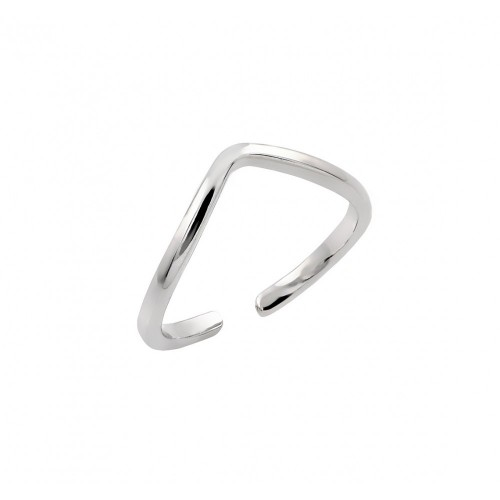 Wholesale Sterling Silver 925 Rhodium Plated Open End Toe Ring - BGR00838