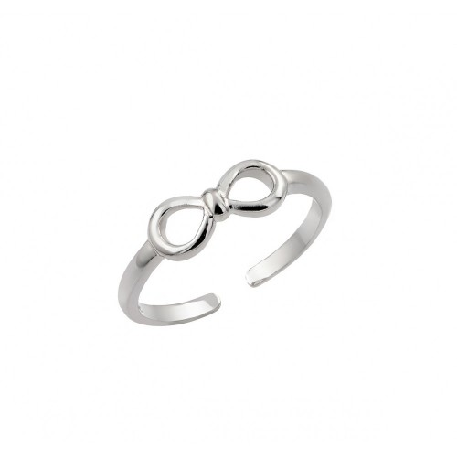 Wholesale Sterling Silver 925 Rhodium Plated Mini Bow Toe Ring - BGR00842