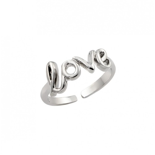 Wholesale Sterling Silver 925 Rhodium Plated Love Toe Ring - BGR00843