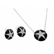 ***CLOSEOUT*** Wholesale Sterling Silver 925 Rhodium Plated Black Onyx Clear Star CZ Stud Earring and Necklace Set - BGS00142