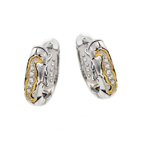 -Closeout- Wholesale Sterling Silver 925 Rhodium Plated Graduated Round CZ Gold Filigree Hoop Earrings - STE00408