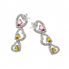 **Closeout** Wholesale Sterling Silver Rhodium Plated Heart Pink and Yellow CZ Dangling Stud Earrings - STE00415