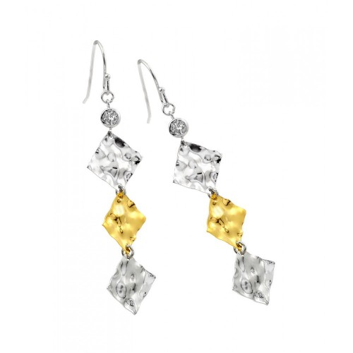 -Closeout- Wholesale Sterling Silver 925 Rhodium Plated Gold and Clear Square CZ Dangling Hook Earrings - STE00471