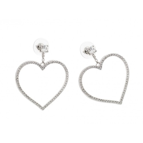 -Closeout- Wholesale Sterling Silver 925 Rhodium Plated Heart CZ Dangling Earrings - STE00511
