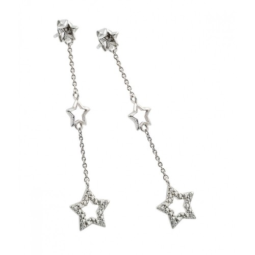 -Closeout- Wholesale Sterling Silver 925 Rhodium Plated Star CZ Wire Dangling Stud Earrings - STE00512