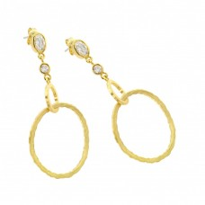 **Closeout** Wholesale Sterling Silver 925 Gold Rhodium Plated Round Oval Clear CZ Dangling Stud Earrings - STE00702