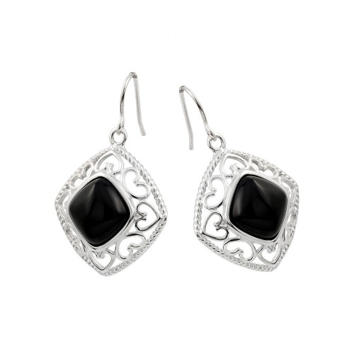 **Closeout** Wholesale Sterling Silver 925 Rhodium Plated Square Black CZ Dangling Hook Earrings - STE00738
