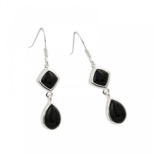 -Closeout- Wholesale Sterling Silver 925 Rhodium Plated Round and Teardrop Black CZ Wire Dangling Hook Earrings - STE00739