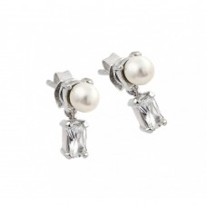 Wholesale Sterling Silver 925 Rhodium Plated Baguette Clear CZ Pearl Dangling Stud Earrings - STE00887