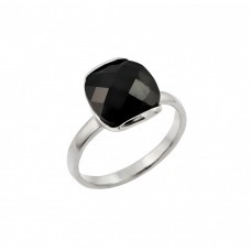 **Closeout** Wholesale Sterling Silver 925 Rhodium Plated Single Black CZ Solitaire Ring - STR00823