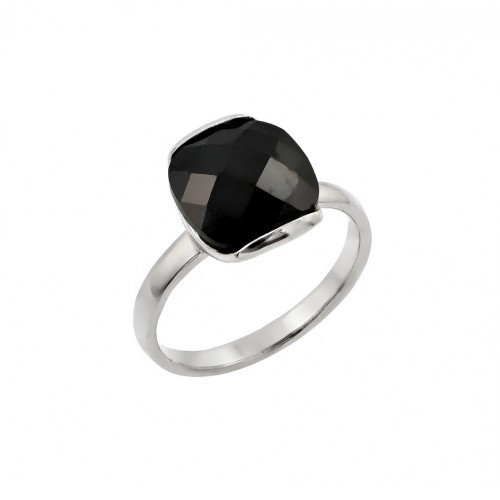 -Closeout- Wholesale Sterling Silver 925 Rhodium Plated Single Black CZ Solitaire Ring - STR00823