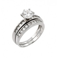Wholesale Sterling Silver 925 Rhodium Plated Clear Round CZ Engagement Ring Pair Set - STR00976