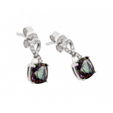 Wholesale Sterling Silver 925 Rhodium Plated Synthetic Mystic Topaz Dangling Stud Earrings - STE00945