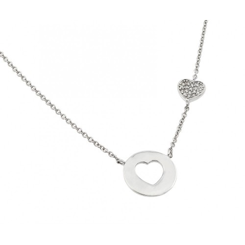 Wholesale Sterling Silver 925 Rhodium Plated Clear CZ Heart Cutout Pendant Necklace - STP01404