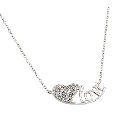 Wholesale Sterling Silver 925 Rhodium Plated Clear CZ Heart Love Pendant Necklace - STP01416