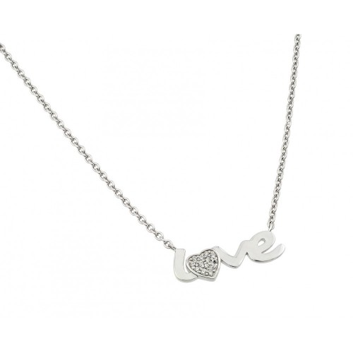 Wholesale Sterling Silver 925 Rhodium Plated Clear CZ Love Pendant Necklace - STP01418