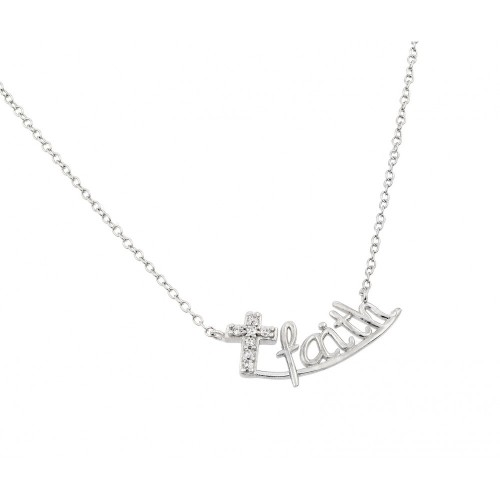 Wholesale Sterling Silver 925 Rhodium Plated Clear CZ Small Cross Faith Underlined Pendant Necklace - STP01420