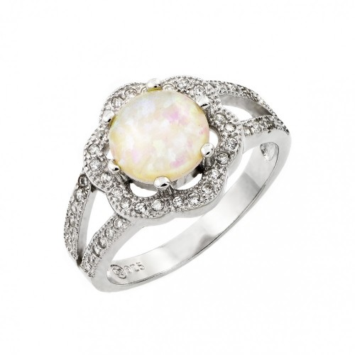 Wholesale Sterling Silver 925 Rhodium Plated White Opal Center Clear Cluster CZ Flower Ring - STR00992