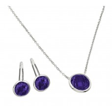 Sterling Silver Rhodium Plated CZ Round Birthstone Lever Back Set February - STS00487FEB