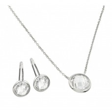 Sterling Silver Rhodium Plated CZ Round Birthstone Lever Back Set April - STS00487APR