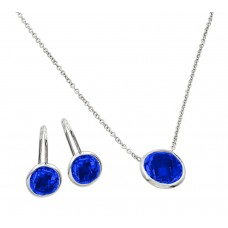 Sterling Silver Rhodium Plated CZ Round Birthstone Lever Back Set September - STS00487SEP