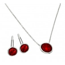 Sterling Silver Rhodium Plated CZ Round Birthstone Lever Back Set January - STS00487JAN