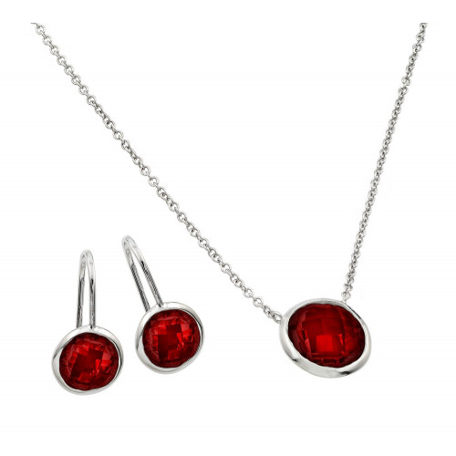 Wholesale Sterling Silver 925 Rhodium Plated CZ Round Birthstone Lever Back Set - STS00487