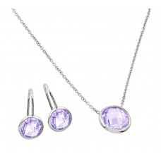 Sterling Silver Rhodium Plated CZ Round Birthstone Lever Back Set June - STS00487JUN