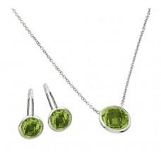 Sterling Silver Rhodium Plated CZ Round Birthstone Lever Back Set August - STS00487AUG
