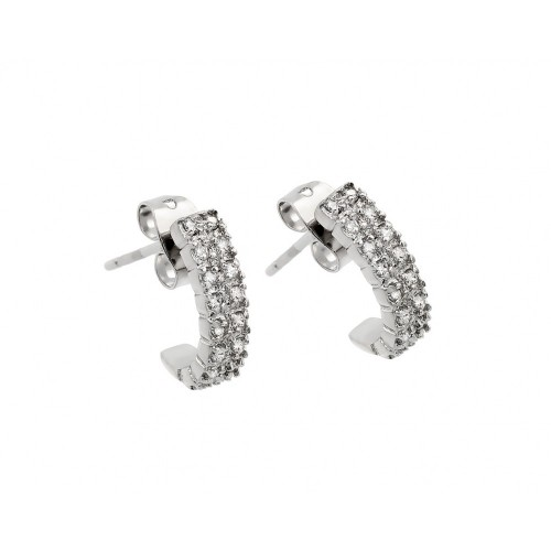 Wholesale Sterling Silver 925 Rhodium Plated Crescent Clear CZ Inlay Semi-Huggie Earrings - BGE00398