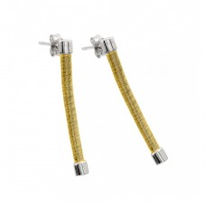 Wholesale Sterling Silver 925 Rhodium and Gold Plated Long Dangling Stud Earrings - ECE001GP