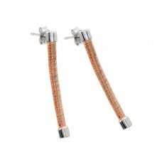 Wholesale Sterling Silver 925 Rhodium and Rose Gold Plated Long Dangling Stud Earrings ECE001RGP