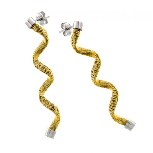 Wholesale Sterling Silver 925 Rhodium and Gold Plated Long Spiral Dangling Stud Earrings - ECE002GP