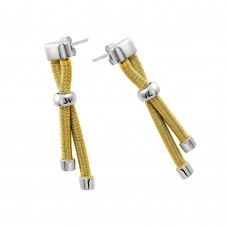Wholesale Sterling Silver 925 Rhodium and Gold Plated Double Long Dangling Stud Earrings - ECE003GP