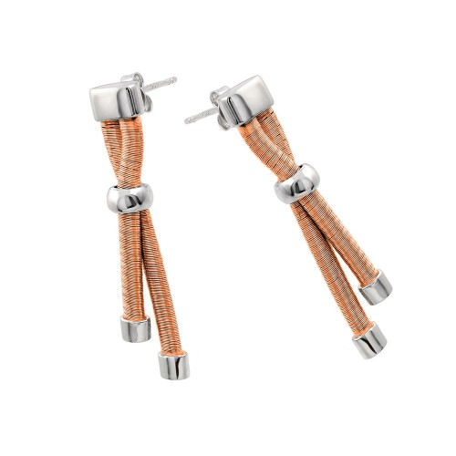 Wholesale Sterling Silver 925 Rhodium and Rose Gold Plated Double Long Dangling Stud Earrings - ECE003RGP