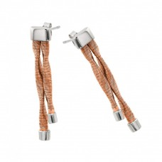 Wholesale Sterling Silver Rhodium and Rose Gold Plated Double Smashed Long Dangling Stud Earrings - ECE004RGP