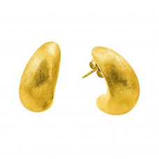 Wholesale Sterling Silver 925 Gold Plated Crescent Stud Earrings - ECE005GP