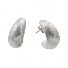 Wholesale Sterling Silver 925 Rhodium Plated Crescent Stud Earrings - ECE005RH
