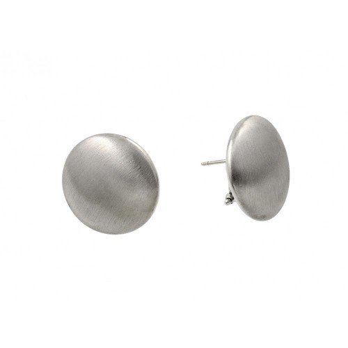 Wholesale Sterling Silver 925 Rhodium Plated Flat Round Stud Earrings - ECE009RH