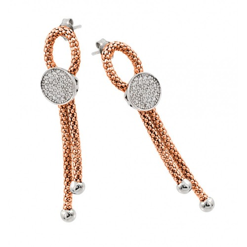 Wholesale Sterling Silver 925 Rhodium and Rose Gold Plated Dangling Ribbon Center Circle CZ Inlay Dangling Stud Earrings - ECE010RGP