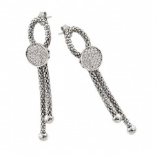 Wholesale Sterling Silver 925 Rhodium Plated Dangling Ribbon Center Circle CZ Inlay Dangling Stud Earrings - ECE010RH
