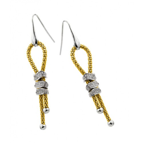 Wholesale Sterling Silver 925 Rhodium and Gold Plated Dangling Ribbon Center Rectangular CZ Inlay Dangling Hook Earrings - ECE011GP