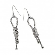 Wholesale Sterling Silver 925 Rhodium Dangling Ribbon Center Rectangular CZ Inlay Dangling Hook Earrings - ECE011RH