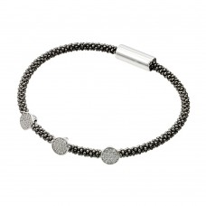 Sterling Silver Rhodium & Black Rhodium Plated 3 Circle Clear CZ Italian Bracelet ITB00154BLK