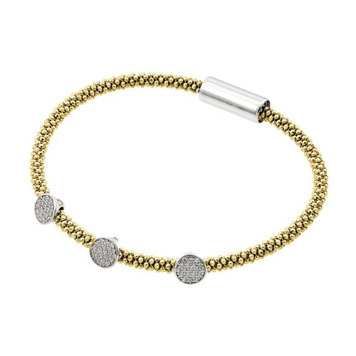 -Closeout- Wholesale Sterling Silver 925 Rhodium and Gold Plated 3 Circle Clear CZ Italian Bracelet - ITB00154GP/RH